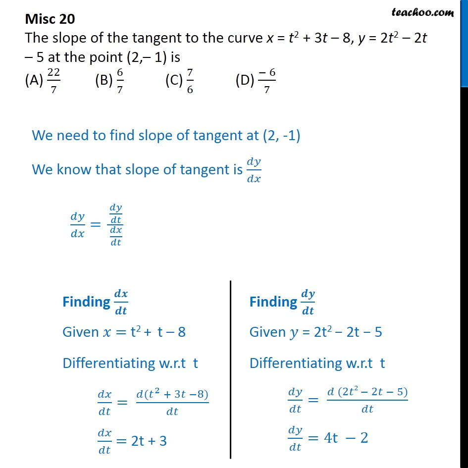 Misc 20 - Slope of tangent to x = t2 + 3t - 8, y = 2t2 - 2t - 5 - Miscellaneous