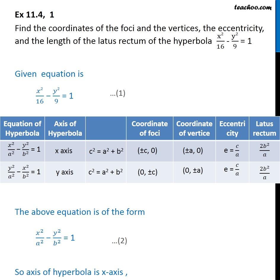 Ex 11.4, 1 - x2/16 - y2/9 = 1 Find foci, vertices - Hyperbola