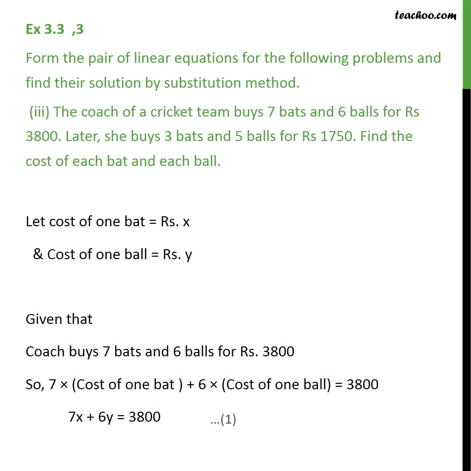 Ex 3 3, 3 - Form the pair of linear equations and find - Ex 3 3