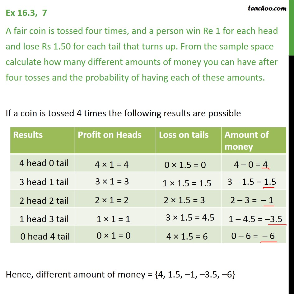 Ex 16.3, 7 - A fair coin is tossed four times, a person win - Basic Formula