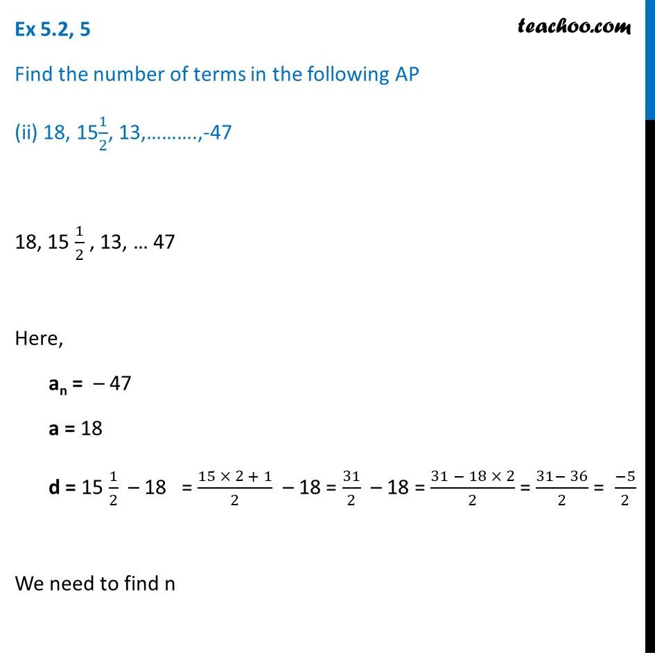 Ex 5.2, 5 - Chapter 5 Class 10 Arithmetic Progressions - Part 3
