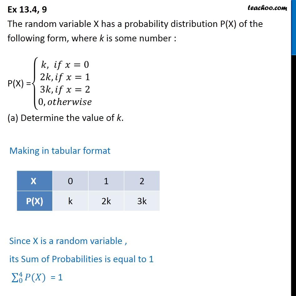 Ex 13.4, 9 - Random variable X has probability distribution - Ex 13.4
