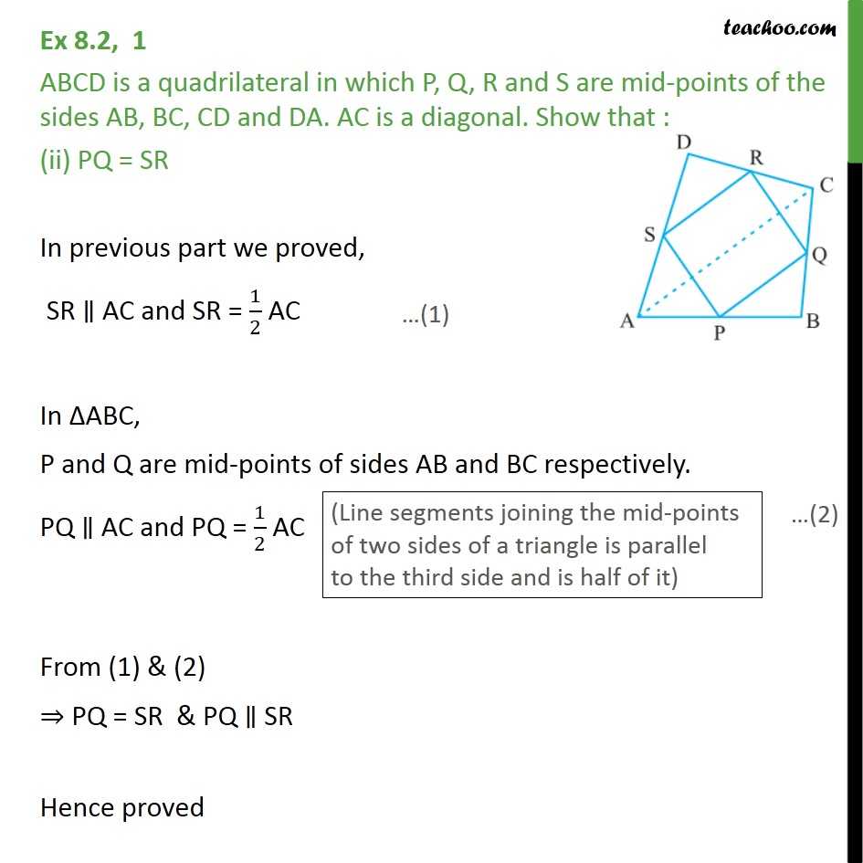 Ex 82 1 Abcd Is A Quadrilateral In Which P Q R And S Principle Of C Generator With Diagram Meritnationcom Last Updated At Dec 8 2016 By Teachoo