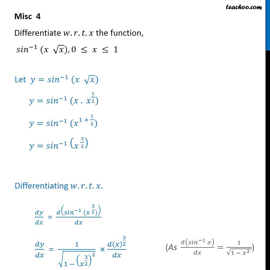 Misc 4 - Differentiate sin-1 (x root x) - Chapter 5 NCERT - Finding derivative of Inverse trigonometric functions