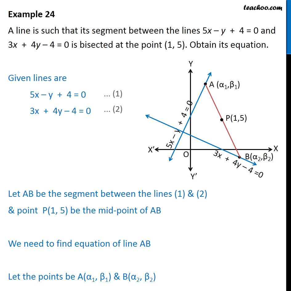 Example 24 - A line is such segment between 5x - y + 4 = 0 - Other Type of questions - Mix
