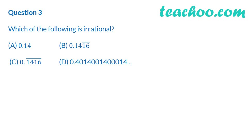 Check if Rational or Irrational - Example - Finding irrational numbers