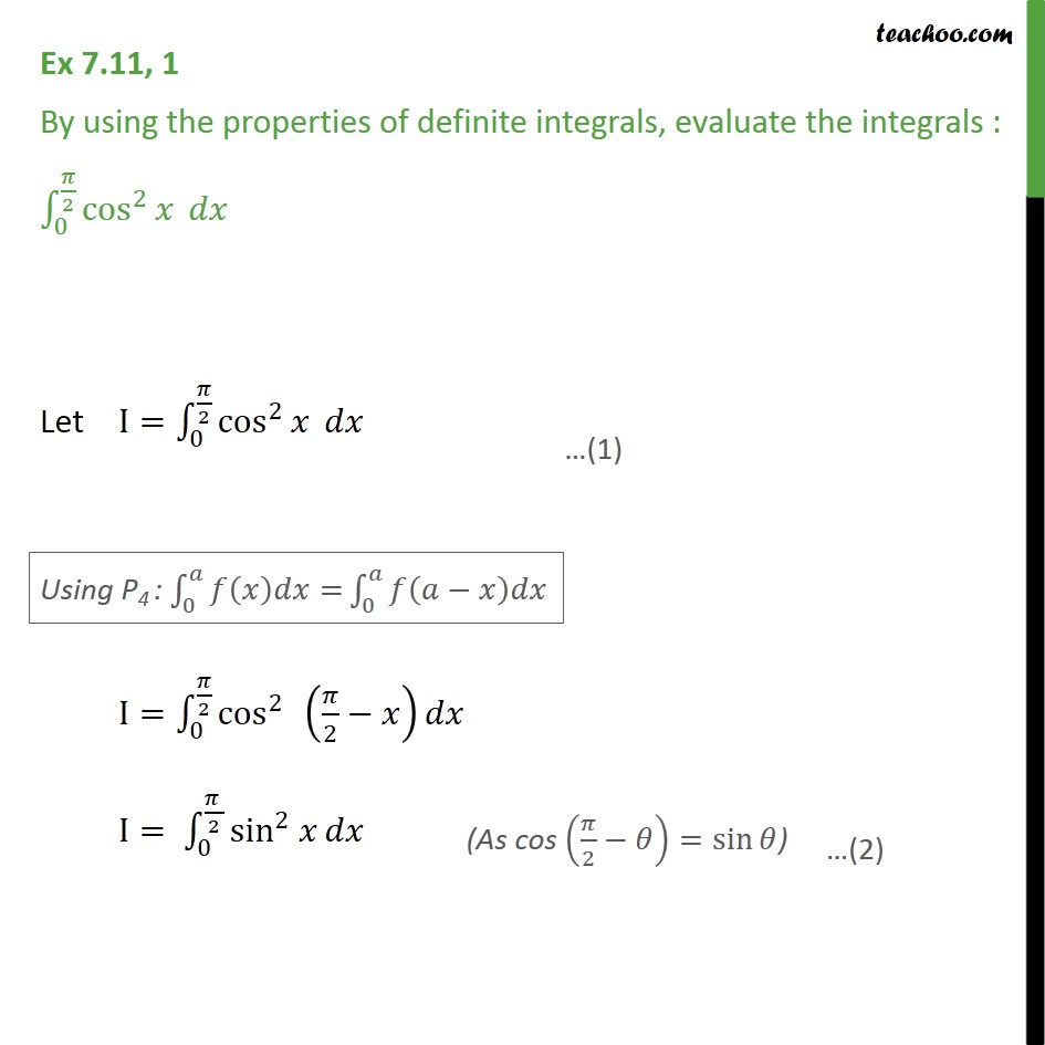 Ex 7.11, 1 - Using properties of definite integrals - Chapter 7 - Ex 7.11