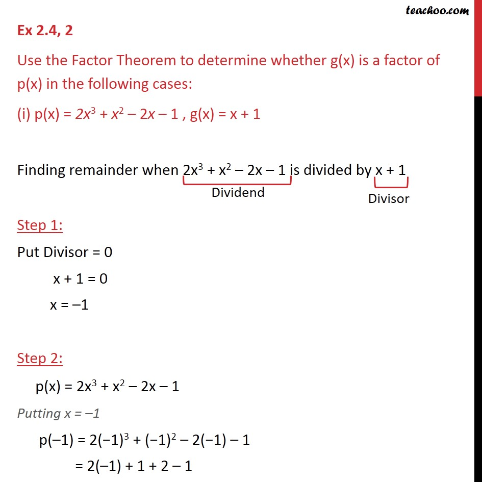 Ex 2.4, 2 - Use the Factor Theorem to determine whether - Check if factor