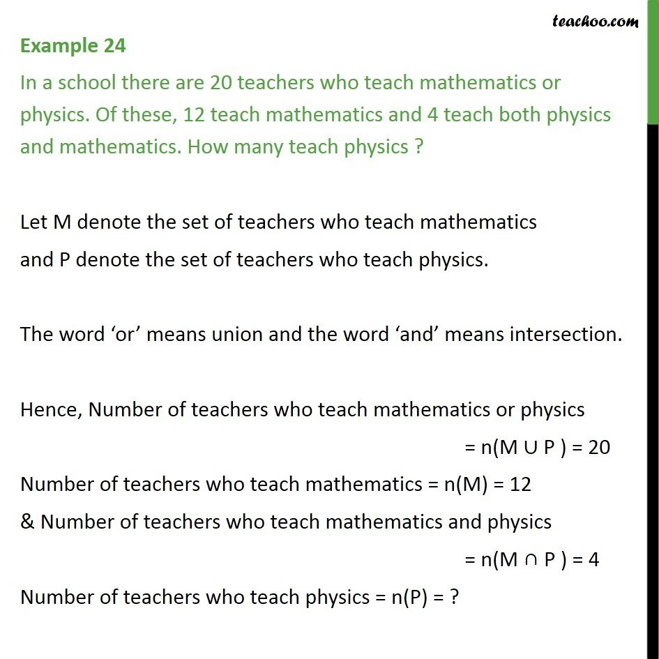Example 24 - In a school, 20 teachers teach maths or physics - Examples