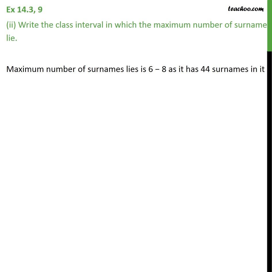 Ex 14.3, 9 - Chapter 14 Class 9 Statistics - Part 4