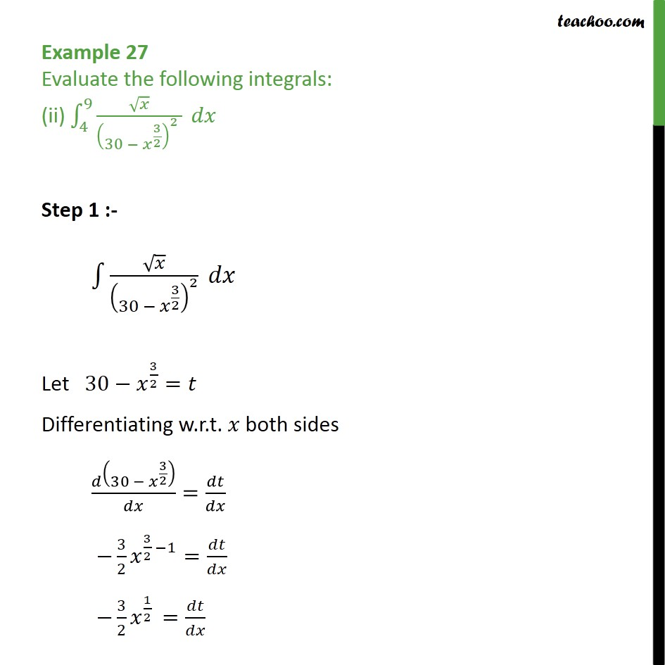 Example 27 (ii) - Evaluate the following integrals root x / 30 -x 3/2 dx - Definate Integration - By Substitution