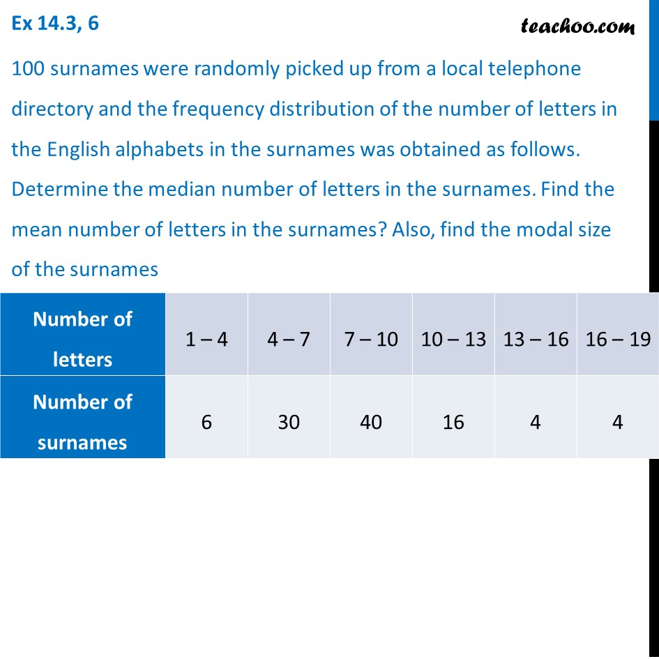 Ex 14.3, 6 - 100 surnames were randomly picked up from - Ex 14.3