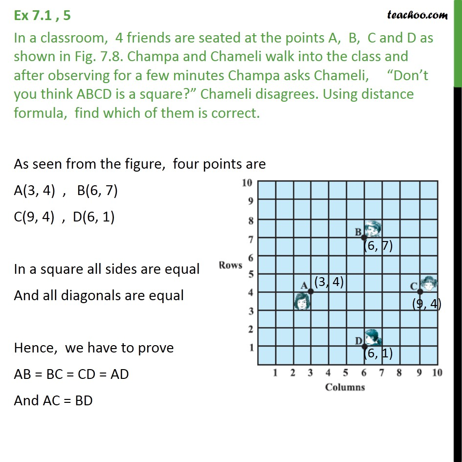 Ex 7.1, 5 - In a classroom, 4 friends are seated at points - Type of quadrilateral formed