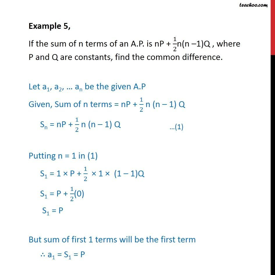 Example 5 - If sum of n terms of AP is nP + 1/2n(n-1)Q