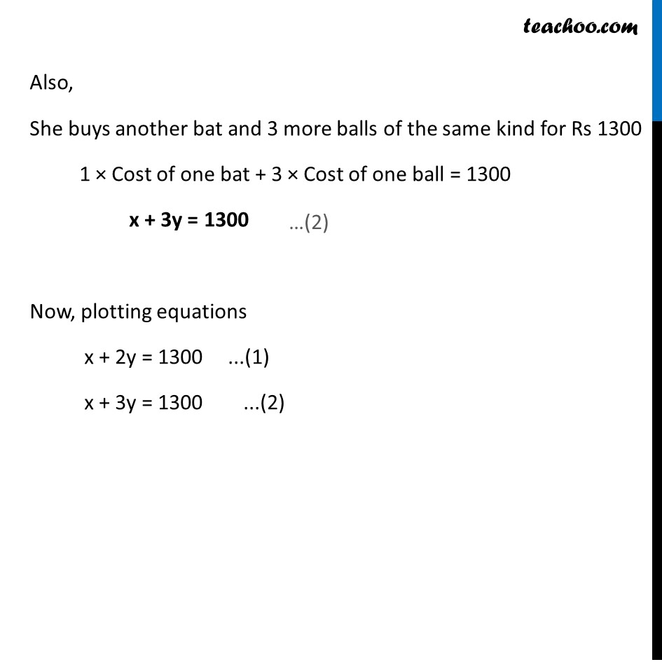 Ex 3.1, 2 - Chapter 3 Class 10 Pair of Linear Equations in Two Variables - Part 2