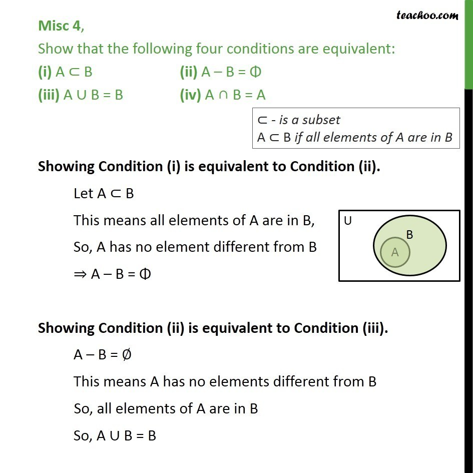 Misc 4 - Show that four conditions are equivalent (i) A < B - Miscellaneous
