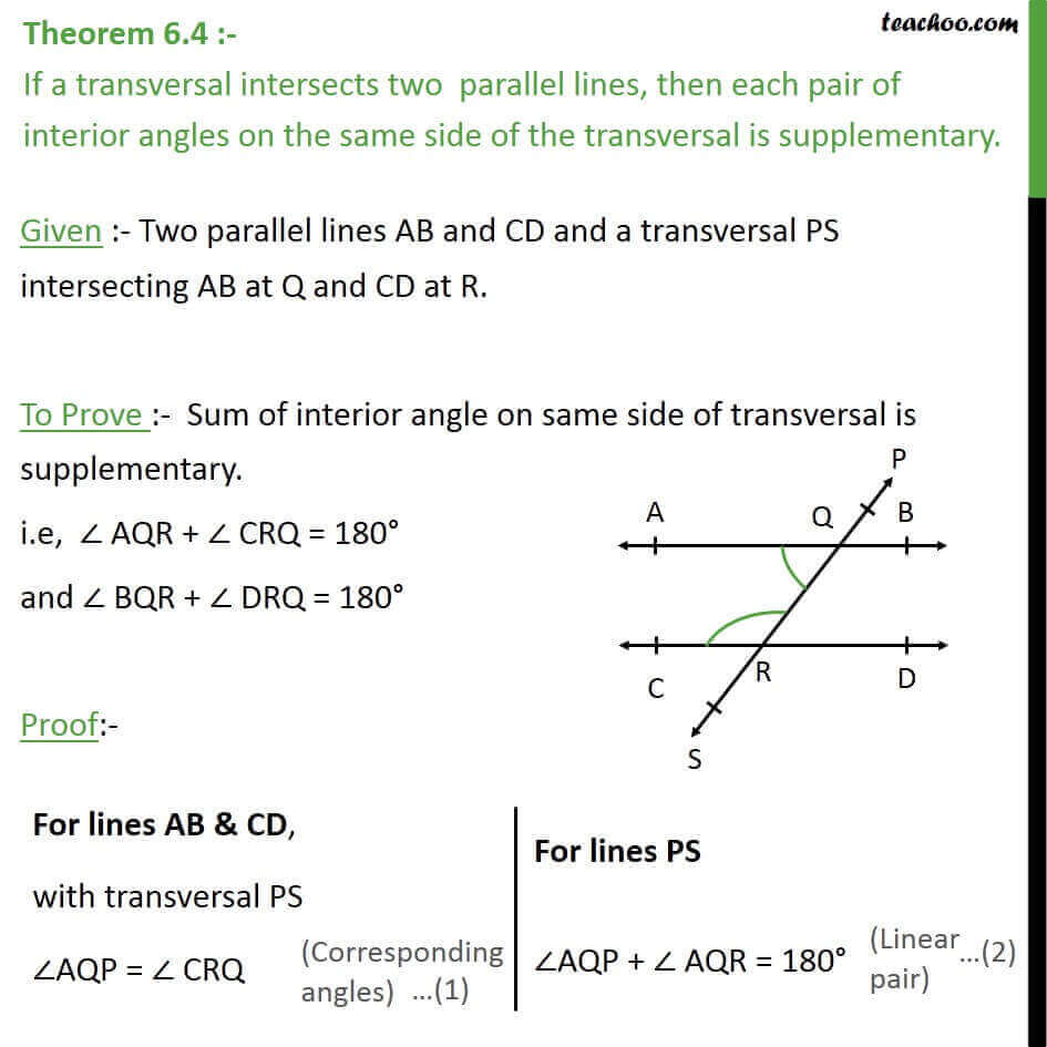 Theorem 6.4   Class 9   Interior Angles On Same Side Of Transversal