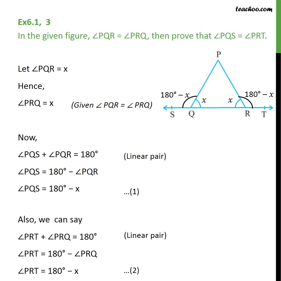 Ex 6.1, 3 - In given figure, ∠PQR = ∠PRQ, then prove - Angles - Problems