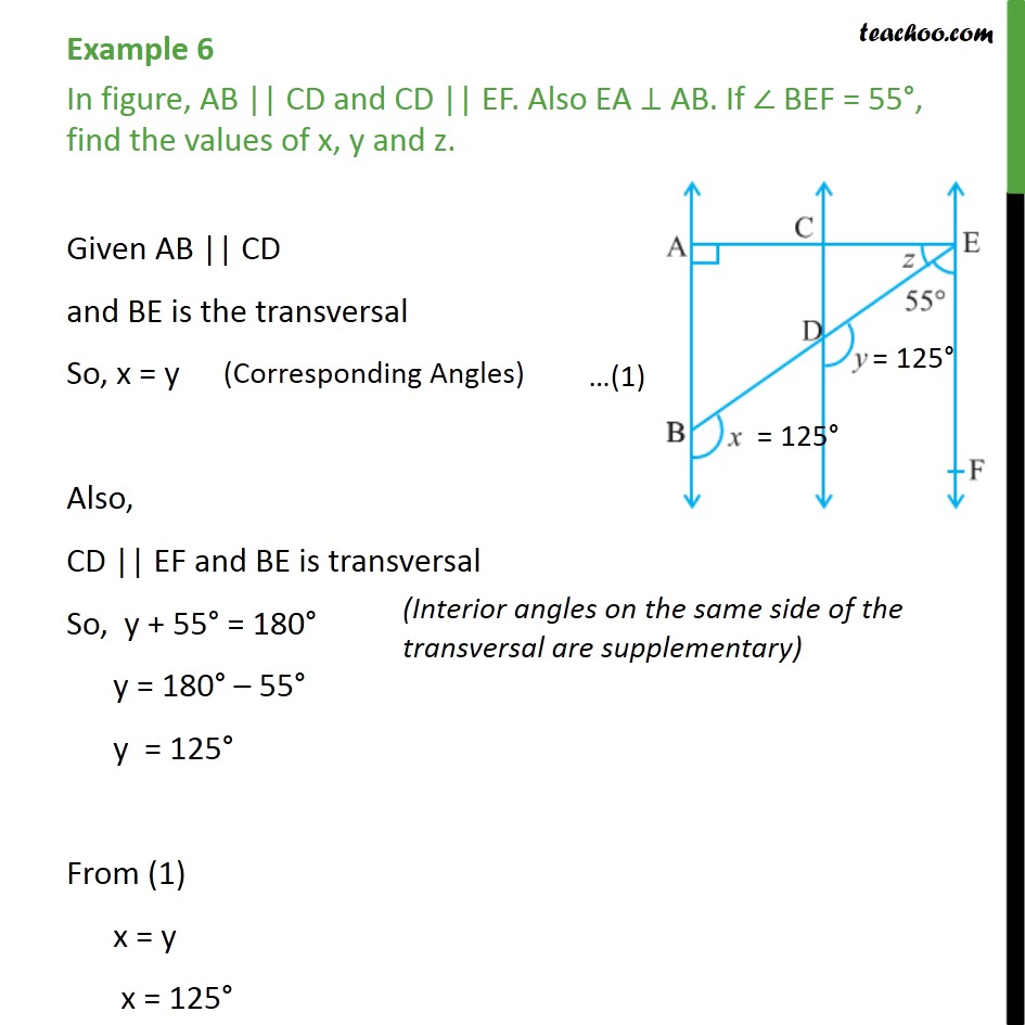 Example 6 - In figure, AB || CD and CD || EF. Also EA ⊥ AB - Parallel lines and traversal - Problems