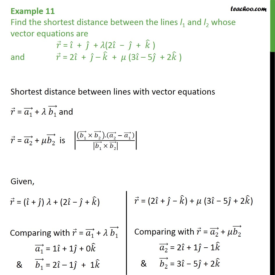 Example 11 - Chapter 11 Class 12 - Find shortest distance - Shortest distance between two skew lines