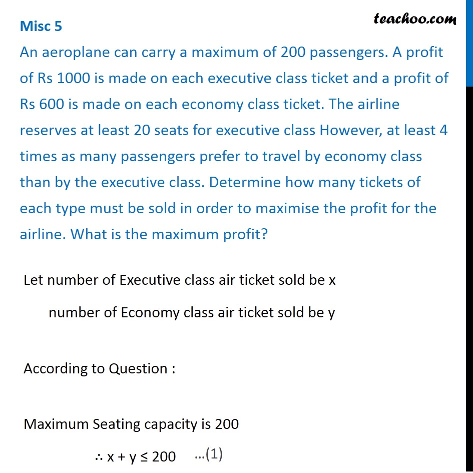 Misc 5 - An aeroplane can carry a maximum of 200 passengers.