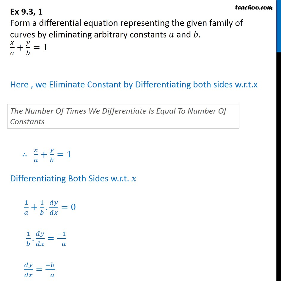 Ex 9.3, 1 - Form differential equation: x/a + y/b = 1 - Formation of Differntial equation when general solution given