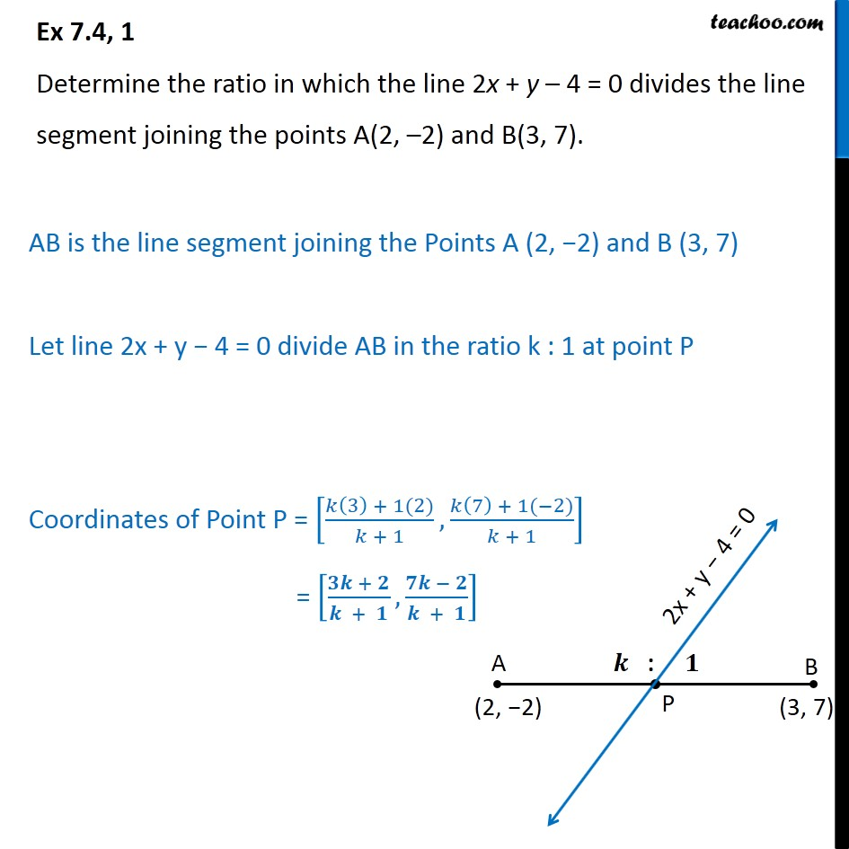 Ex 7 4, 1 (Optional) - Determine ratio in which line 2x + y