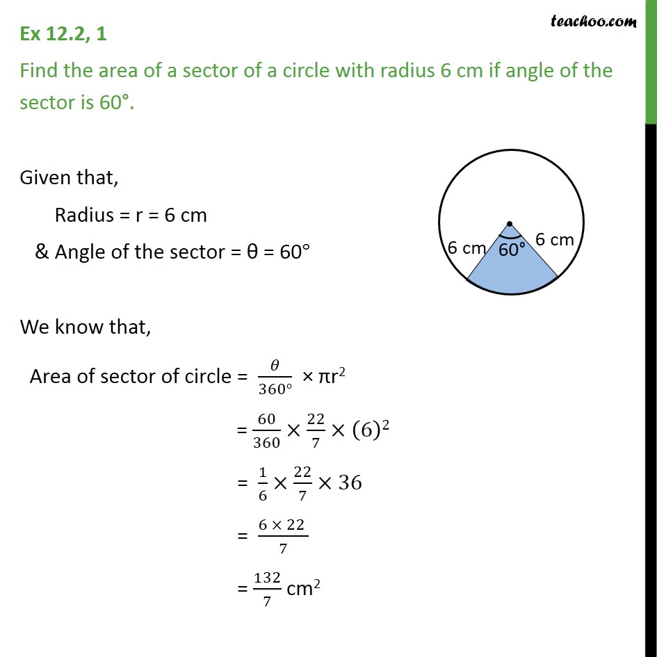 Ex 12.2, 1 - Find area of a sector, radius 6 cm, angle is 60 - Area of sector of circle