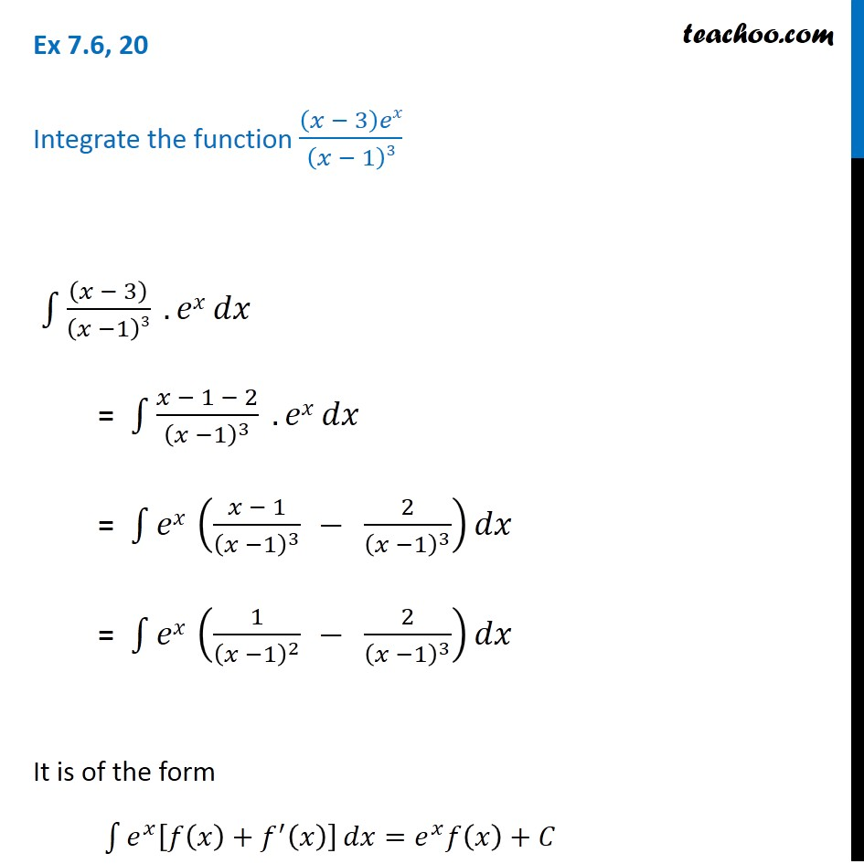 Ex 7.6, 20 - Integrate (x - 3)ex / (x - 1)3 - Class 12 - Ex 7.6
