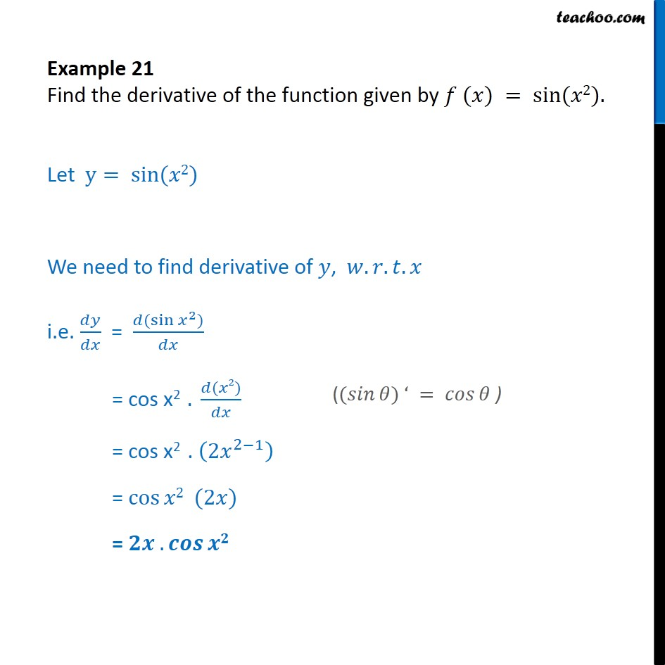 Example 21 - Find derivative of f(x) = sin x2 - Examples