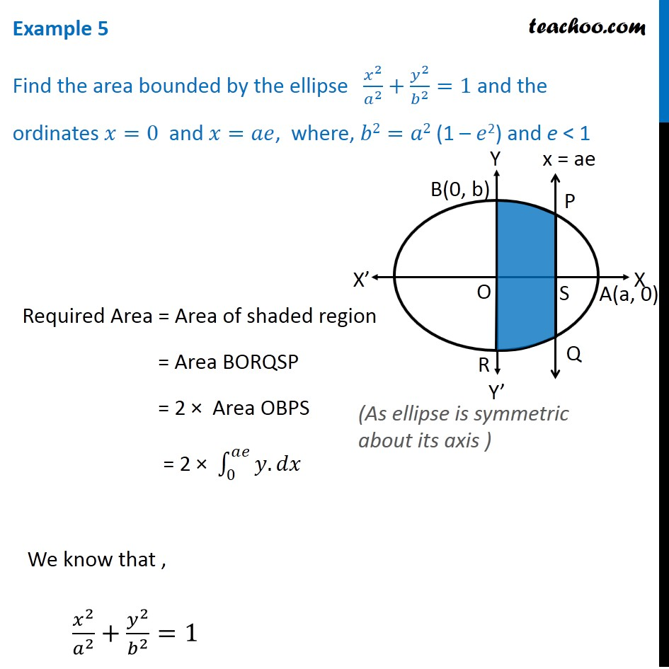 Example 5 - Find area bounded by ellipse x2/a2 + y2/b2 = 1