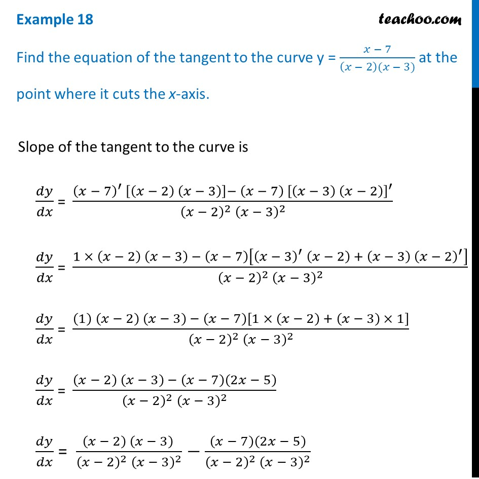 Example 18 - Find equation of tangent at point where it cuts