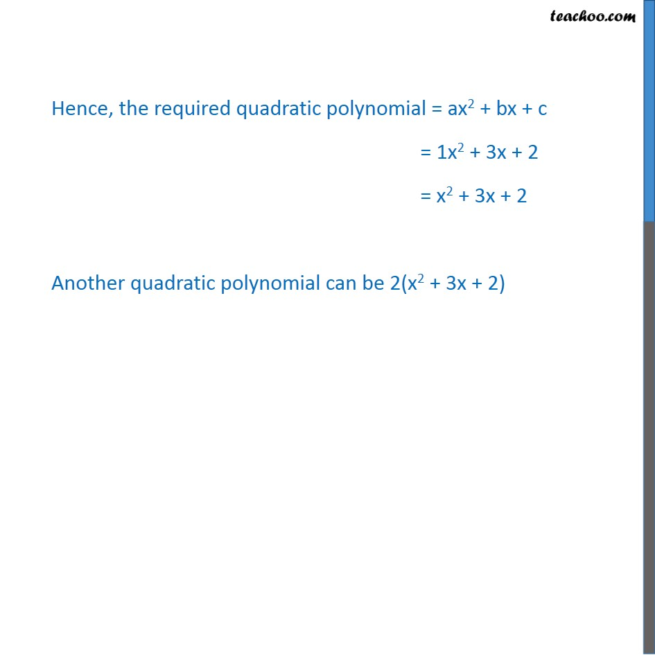 Example 4 Find A Quadratic Polynomial Sum And Product