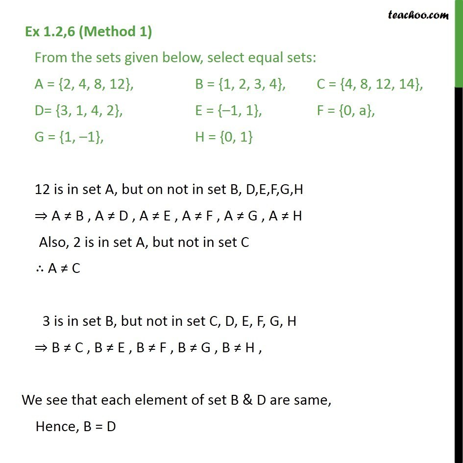 Ex 1.2, 6 -  From sets given, select equal sets: A = {2, 4 - Ex 1.2