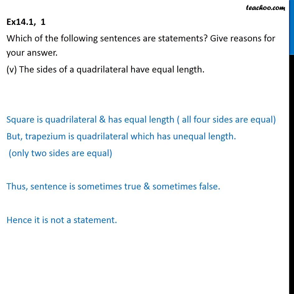 Ex 14.1,  1 - Chapter 14 Class 11 Mathematical Reasoning - Part 5