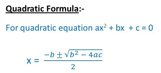 Quadratic Formula to solve quadratic equations - Algebra Formulas teachoo.jpg