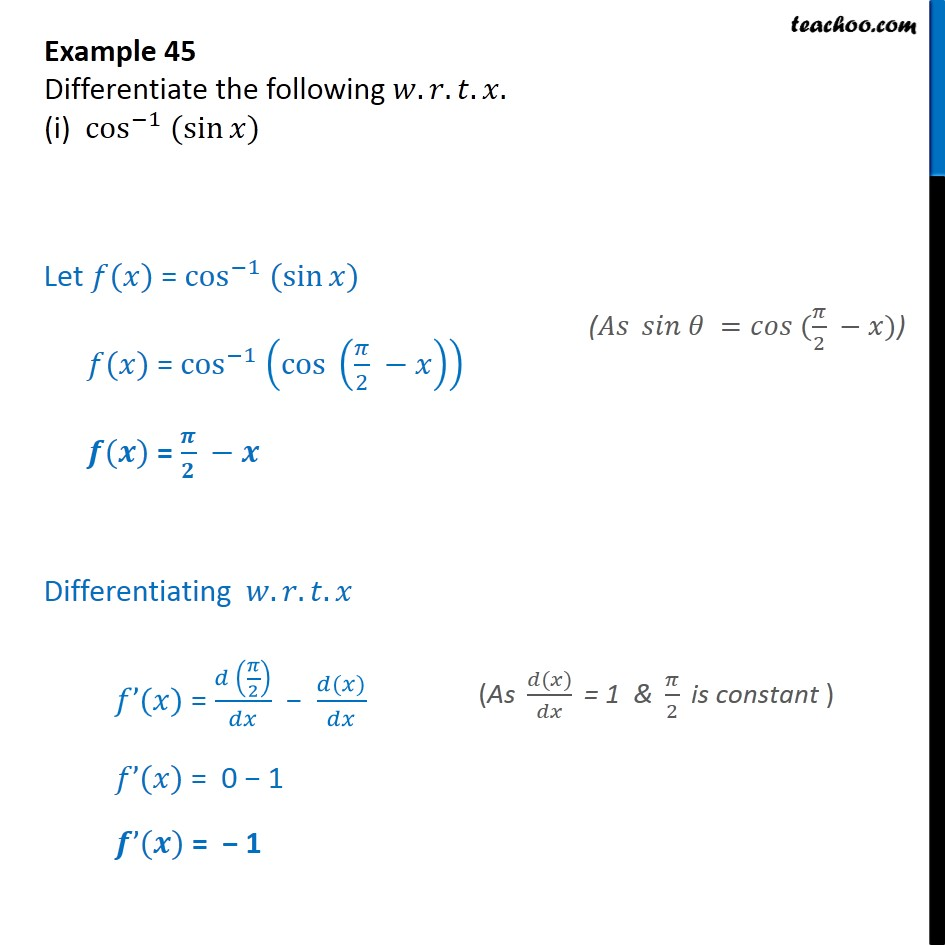 Example 45 - Differentiate (i) cos-1 (sin x) - Chapter 5 - Examples