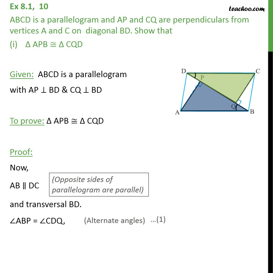 Ex 8.1, 10 - ABCD is a parallelogram and AP and CQ - Ex 8.1