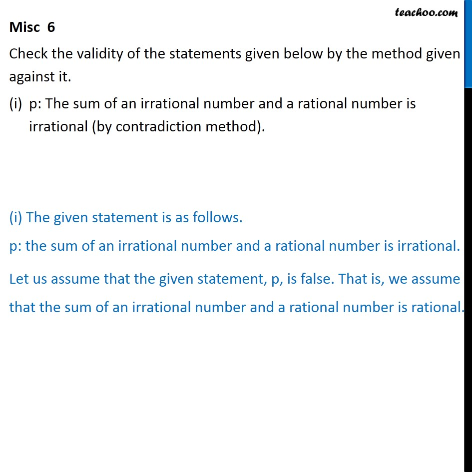 Misc 6 - Check validity of statements given below by - Miscellaneous