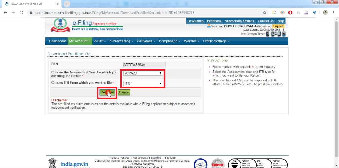 5. Select Assessment year and ITR Form, then click Continue button.png