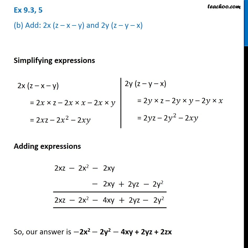 Ex 9.3, 5 - Chapter 9 Class 8 Algebraic Expressions and Identities - Part 2
