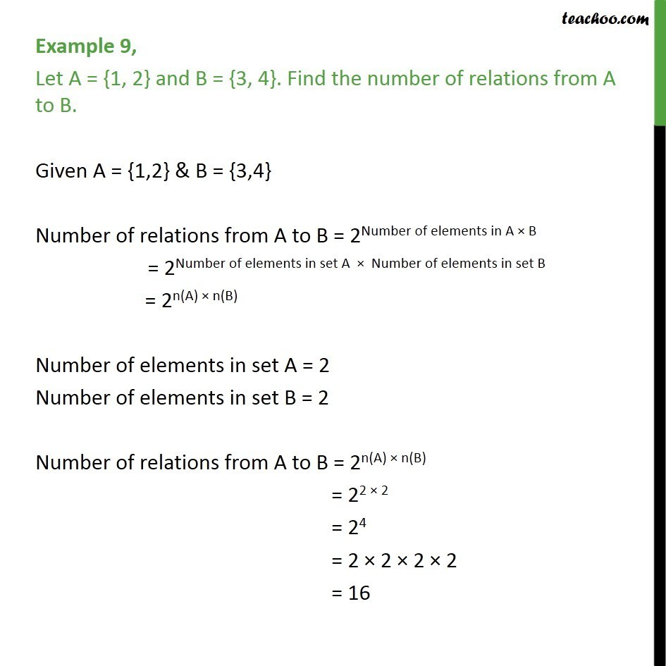 Example 9 - Let A = {1, 2}, B = {3, 4}. Find number of relations - Number of Relations