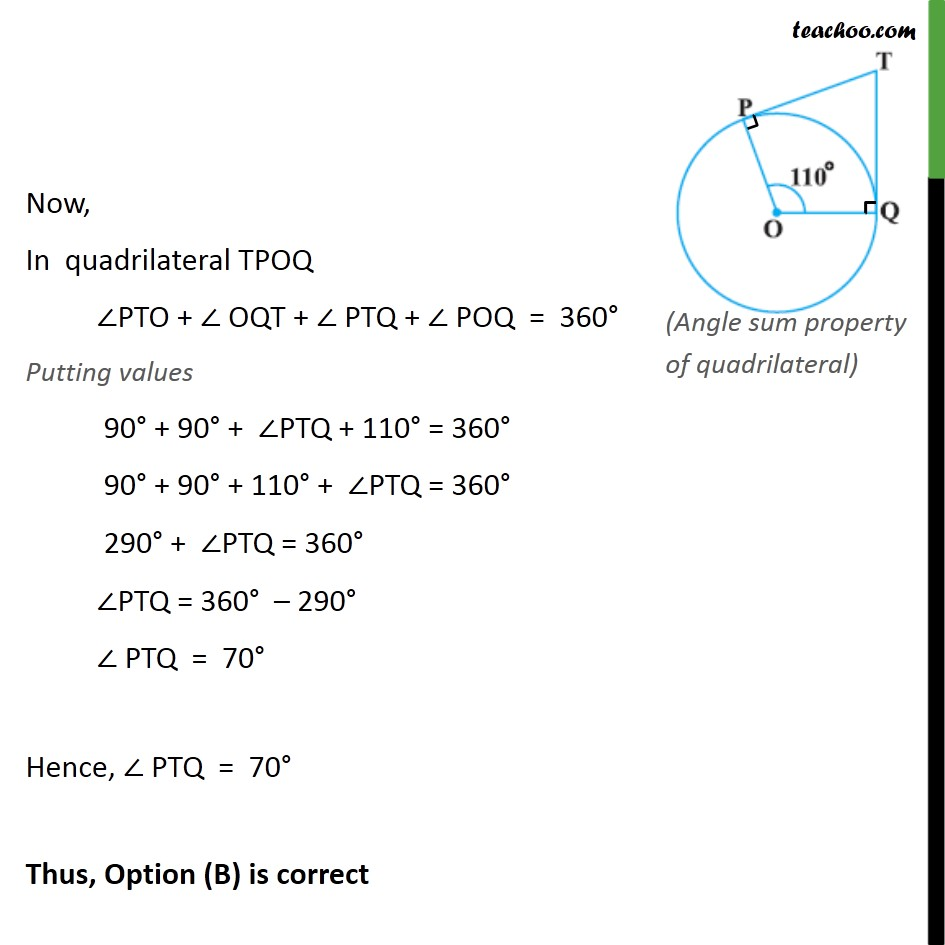 Ex 10 2, 2 - In fig, if TP and TQ are two tangents to a - Ex