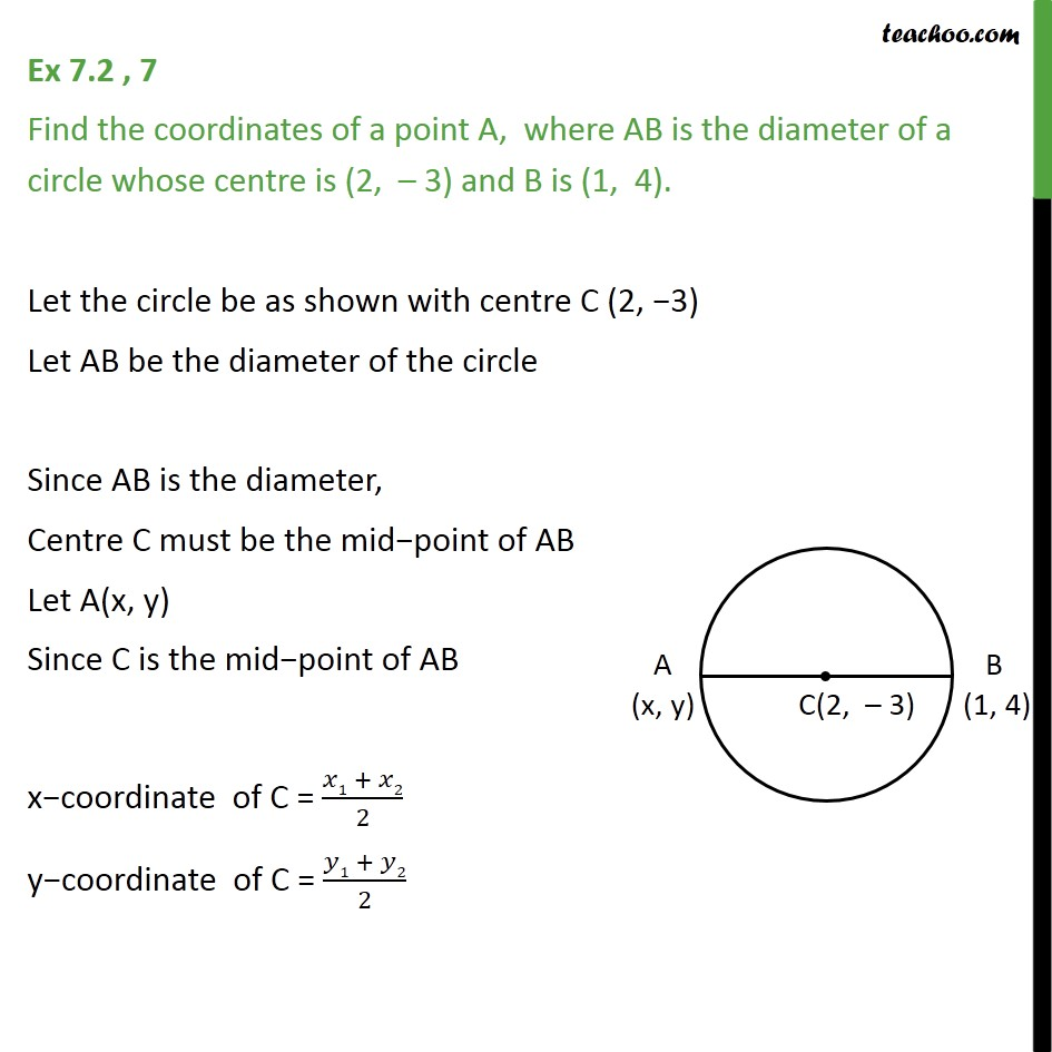 Ex 7.2, 7 - Find coordinates of A, where AB is diameter - Ex 7.2