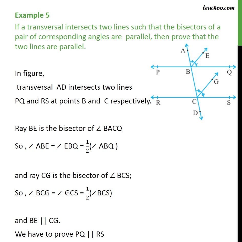 Example 5 - If a transversal intersects two lines such that - Parallel lines and traversal - Problems