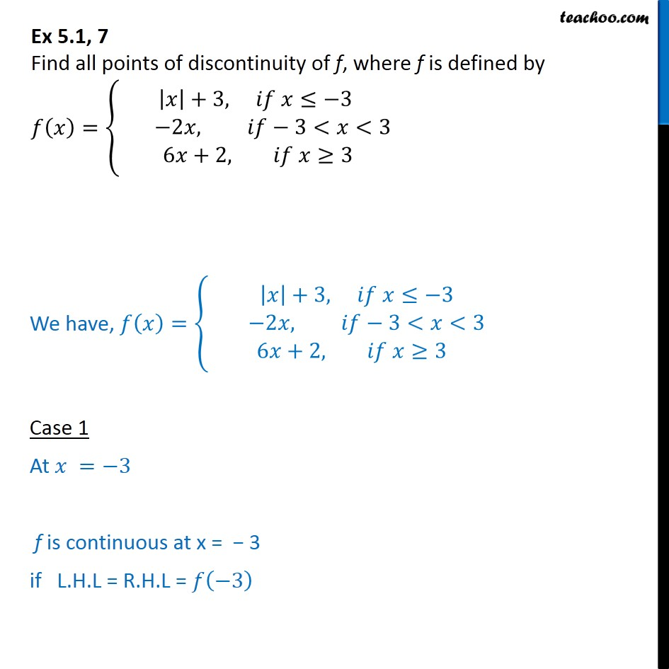 Ex 5.1, 7 - Find all points of discontinuity of f(x) = {|x| + 3 - Ex 5.1
