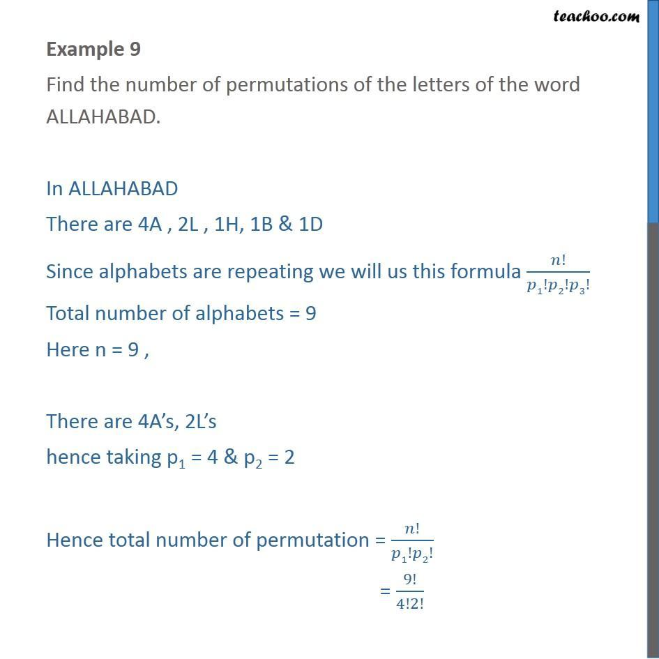 Example 9 - Find number of permutations of ALLAHABAD - Examples