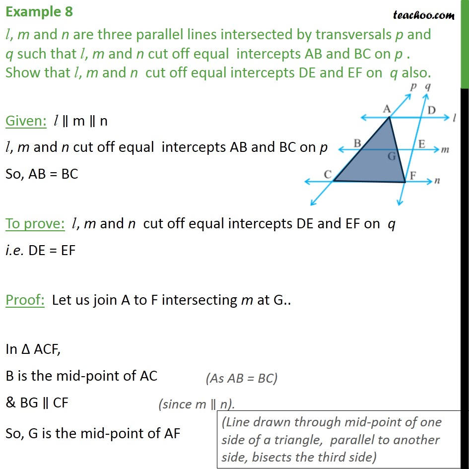 Example 8 - l, m and n are three parallel lines intersected - Examples