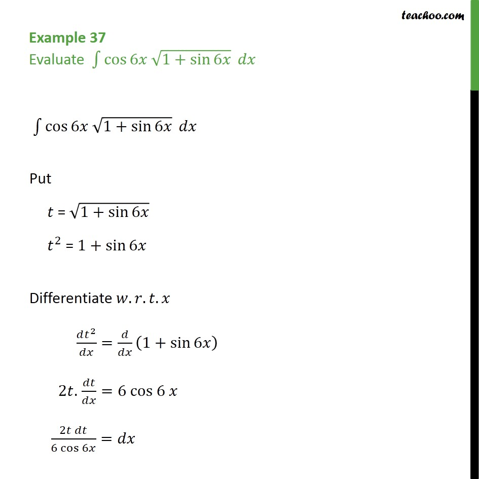 Example 37 - Evaluate integral cos 6x root 1 + sin 6x dx - Integration by substitution - Trignometric - Normal