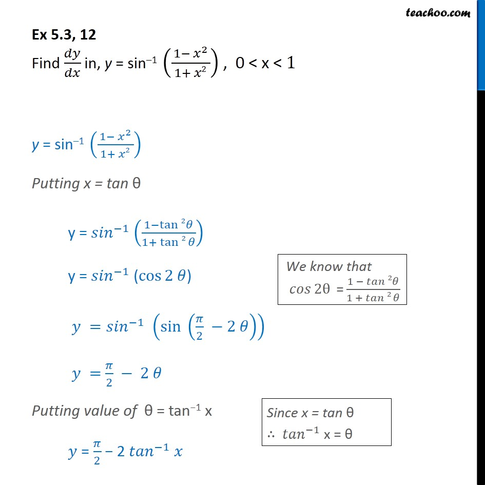 Ex 5.3, 12 - Find dy/dx in, y = sin-1 (1-x2/1+x2) - Chapter 5 - Ex 5.3